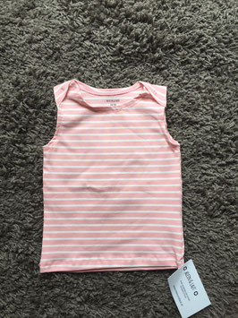 T-Shirt Ärmellos Mädchen Streifen rosa