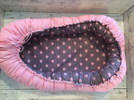 Babynest Sterne rosa grau /rosa
