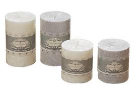 Kerze grau oder weiß irisierend