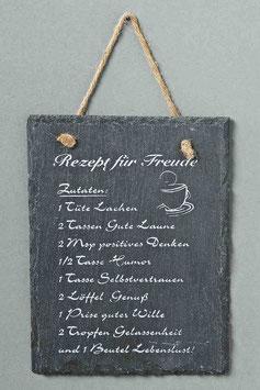 Schild Rezept für Freude