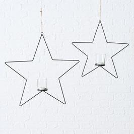 Windlichthänger Stern schwarz