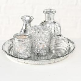 Silbernes Windlicht Vasen Set