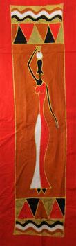 Panneau art batik Sud Africain - femme rouge