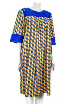 Robe kaba encolure tissé - Tissu pagne wax - Taille 44 - 46