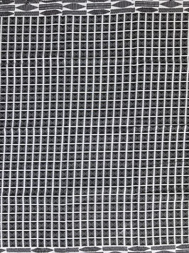 # 49 - Tissu WAX pagne africain 182X118CM -  100% Coton- African Print - Noir blanc