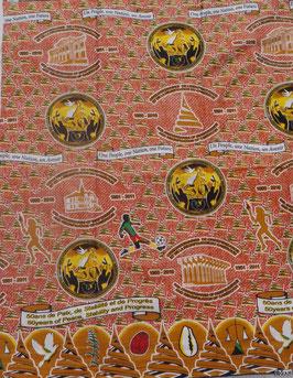 # 9 - Tissu WAX pagne africain 182X118CM -  100% Coton- African Print - 50ème anniversaire réunification Cameroun