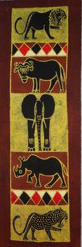 Panneau art batik Sud Africain - Éléphant marron