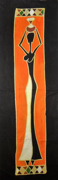 Panneau art batik Sud Africain - femme noir