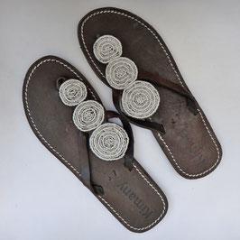 Sandales tong masaï Malindi white ethniques