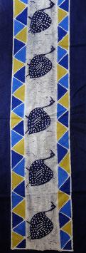 Panneau art batik Sud Africain - horizontal bleu
