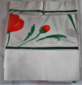 Parure de lit (Drap plat uni, drap plat imprimé, 2 taies)