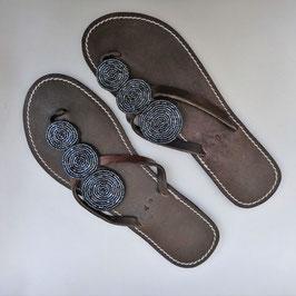 Sandales tong masaï Malindi Black ethniques