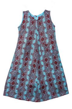 Robe trapèze en tissu pagne wax 100% coton - 8 ans