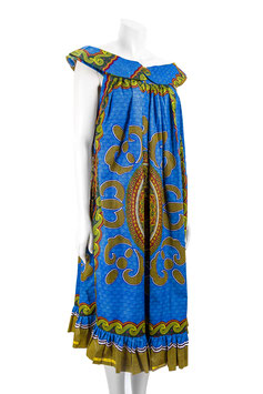 Robe kaba encolure bande et bouton - Tissu pagne wax - Taille 40 - 42