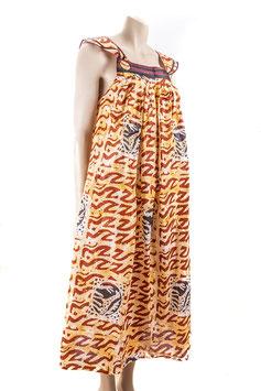 Robe kaba à bretelles - Tissu pagne wax - Taille 40