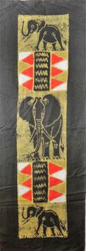 Panneau art batik Sud Africain - Éléphant noir