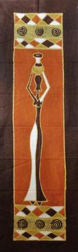 Panneau art batik Sud Africain - femme marron
