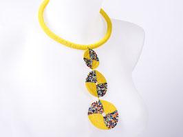 Collier pendentif disque perles
