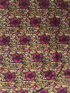 # 31 - Tissu WAX pagne africain 182X118CM -  100% Coton- African Print - fleurs rose