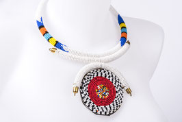 Collier de perles soleil - blanc