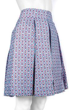 Jupe plissée taille haute en pagne