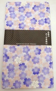 """Tenugui """"Fleurs de Sakura"""" (violet et orange pâle)"""