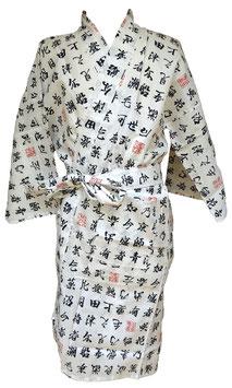 Yukata court Kanji sur fond blanc