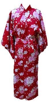 Yukata Sakura sur fond rouge foncé