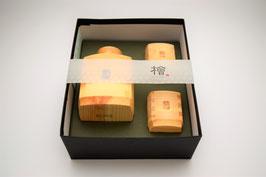 Service à saké en bois de Hinoki 1 verseuse et 2 coupelles