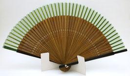 Eventail en soie et bambou vert uni
