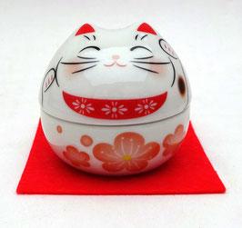 Petit boîte Warabe Maneki-Neko motifs Fleurs de Sakura