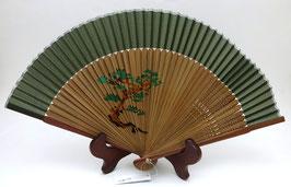Eventail en soie, motif Niwaki (vert)