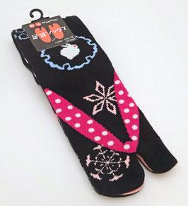 Chaussettes Tabi Lapins et Flocons de neige sur fond noir et revers rose mat (Taille 35/36 - 39)