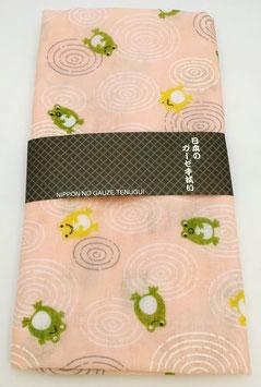 """Tenugui """"Grenouilles et ronds dans l'eau"""", sur fond rose saumon"""