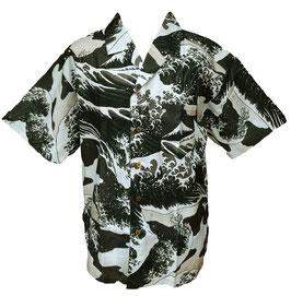 """Chemise """"La Vague"""" d'Hokusai sur fond gris bleuté"""