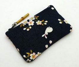 Porte-monnaie Lapins et Fleurs de Sakura (bleu foncé)