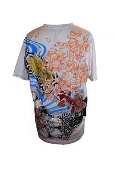T-shirt blanc Poissons et Sakura