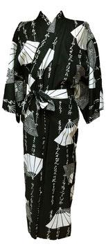 Yukata Eventails et Calligraphie sur fond noir