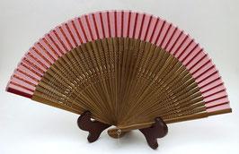 Eventail en soie et bambou fond rouge (tranche marron)