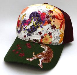 Casquette Tigre, Dragon et Sakura, fond rouge et visière verte