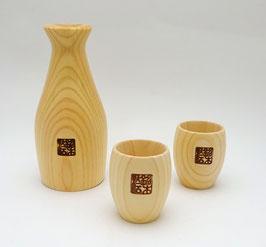 Service à saké en bois de Hinoki 1 verseuse et 2 coupelles (rondes)