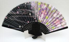 Eventail bambou Sakura et ondes (fond noir et violet clair)