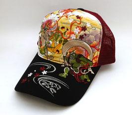 Casquette Rouge Fujin Raijin, Nuages et Sakura (avec filet polyester)