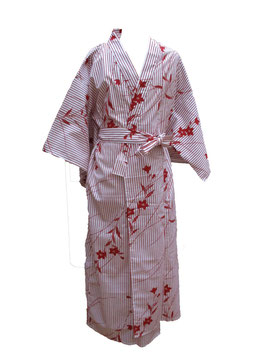 Yukata Rayures et Fleurs Rouges