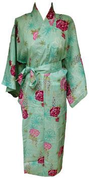 Yukata Motifs floraux sur fond turquoise
