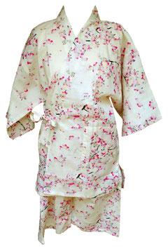 """Jimbei Femme """"Sakura roses sur fond ivoire"""""""