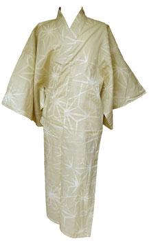 Yukata Asa no Ha sur fond Beige (sans ceinture)