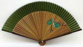 Eventail en soie et bambou Calebasses (vert)