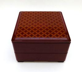 Boîte à repas carrée 2 étages, motif Shippô tsunagi (couleur rouge bordeaux)
