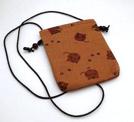 Mini pochette Kakishibuzome motif Neko (chat)